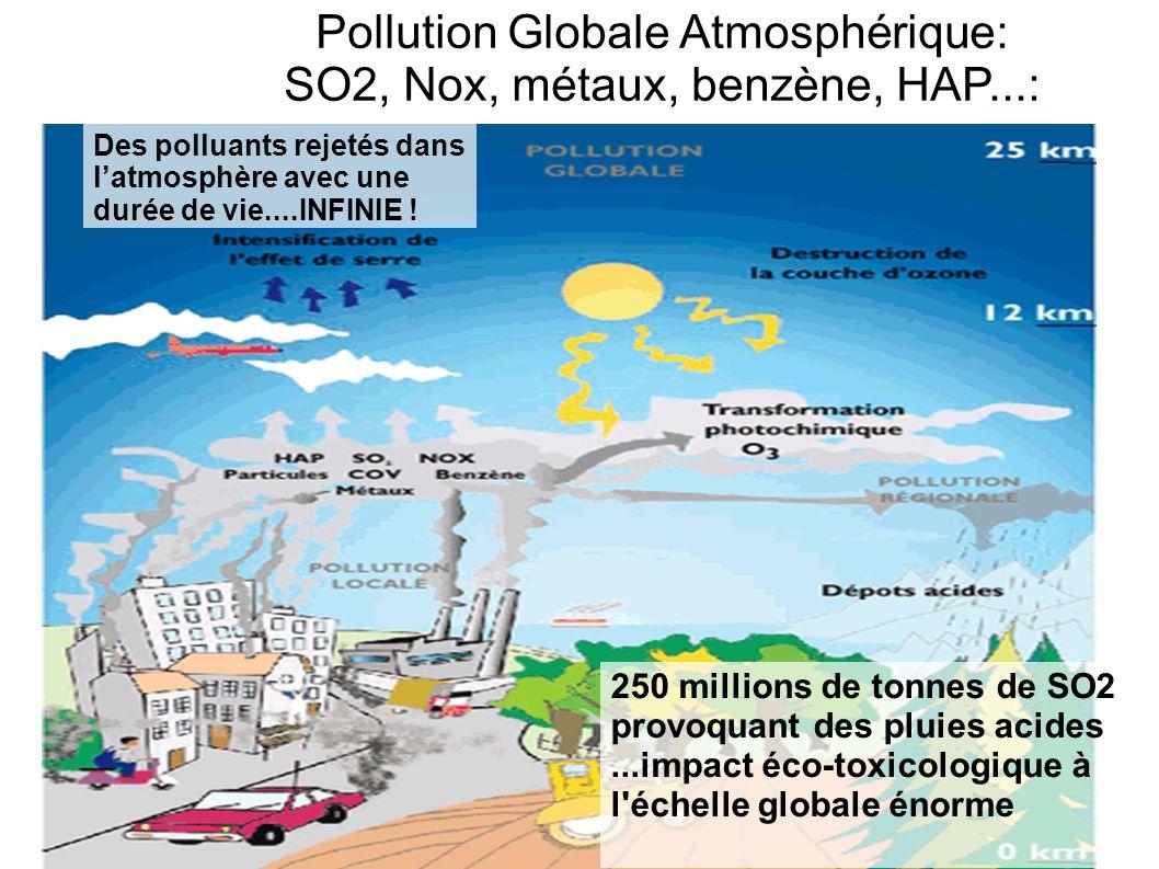Pollution Globale Atmosphérique: SO2, Nox, métaux, benzène, HAP...: