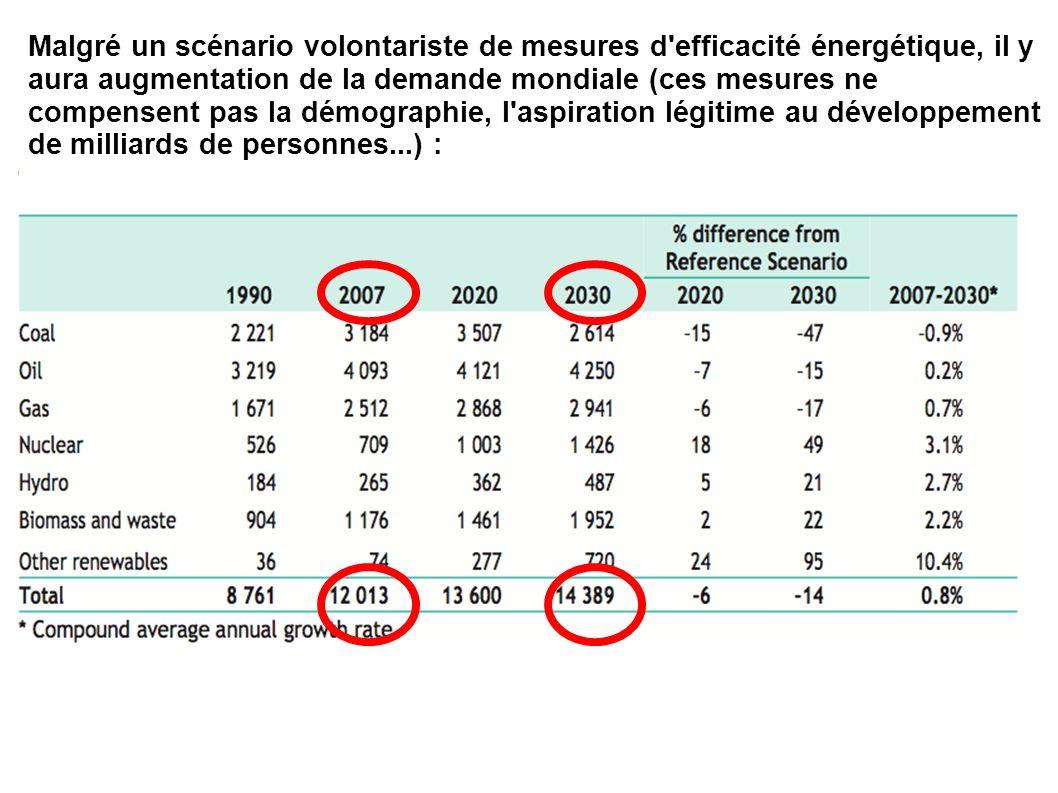 Malgré un scénario volontariste de mesures d efficacité énergétique, il y aura augmentation de la demande mondiale (ces mesures ne compensent pas la démographie, l aspiration légitime au développement de milliards de personnes...) :