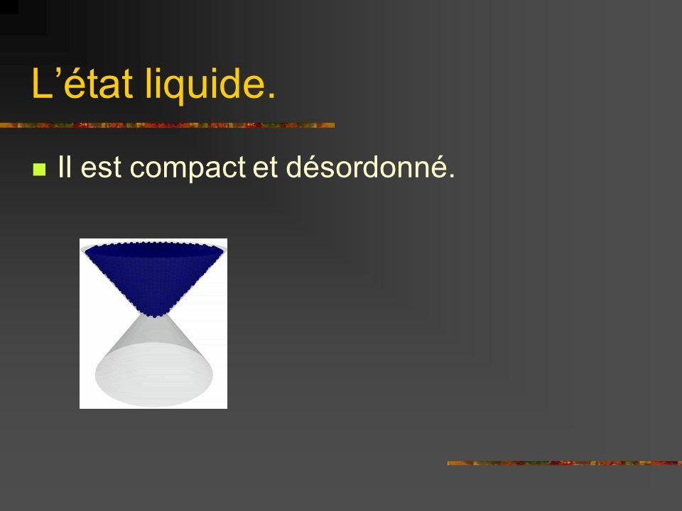 L'état liquide. Il est compact et désordonné.