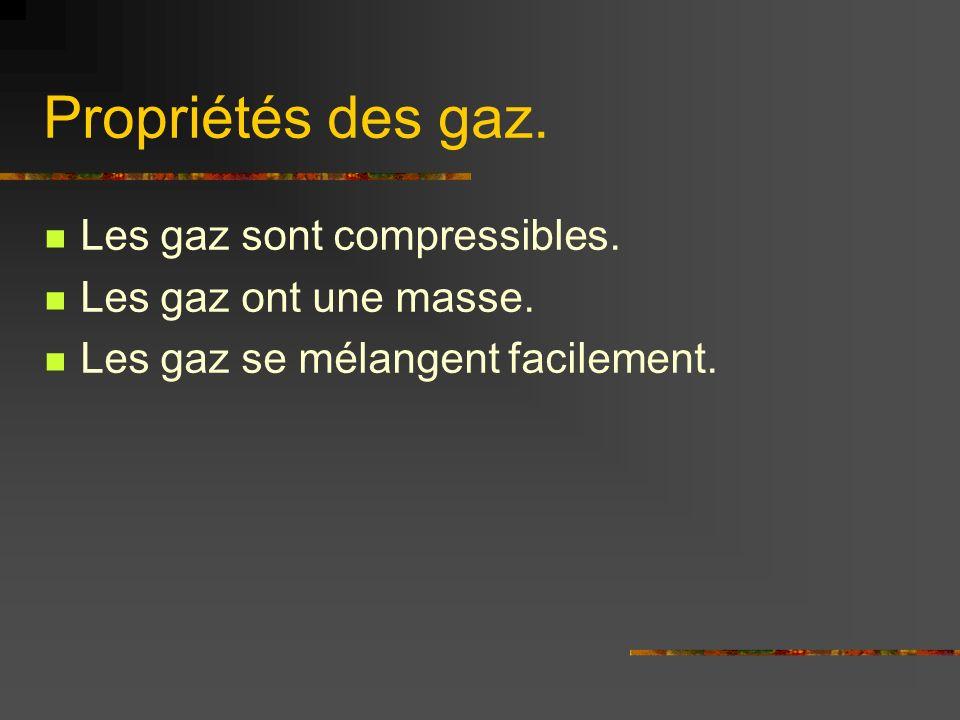 Propriétés des gaz. Les gaz sont compressibles. Les gaz ont une masse.