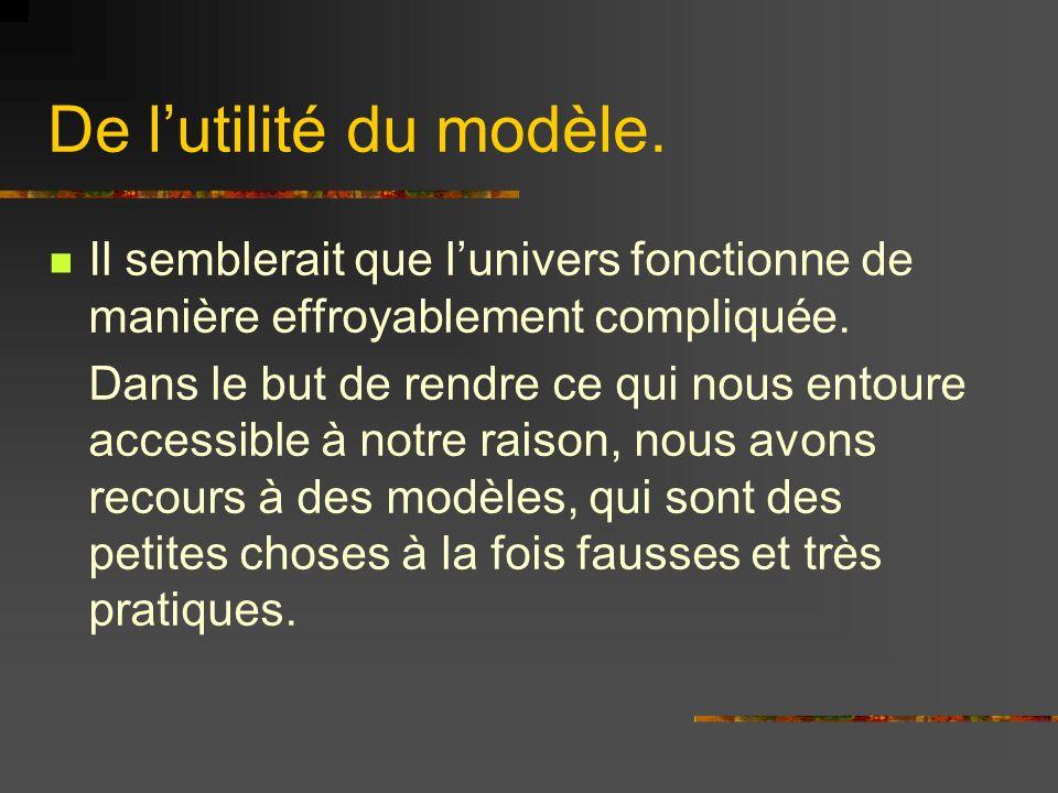 De l'utilité du modèle. Il semblerait que l'univers fonctionne de manière effroyablement compliquée.