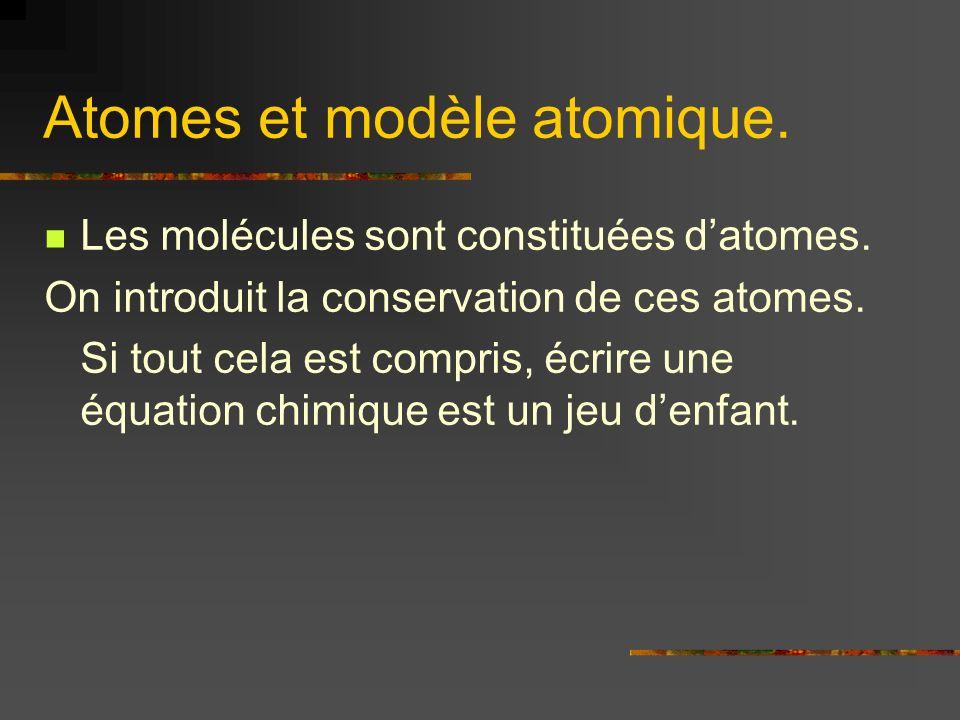 Atomes et modèle atomique.