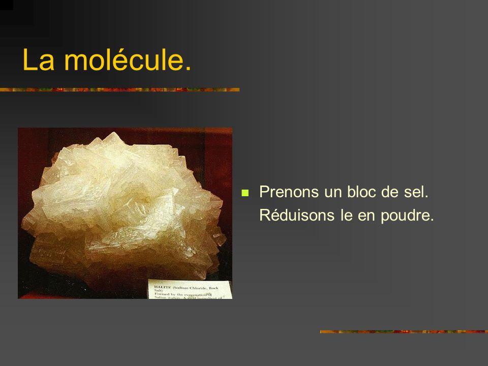La molécule. Prenons un bloc de sel. Réduisons le en poudre.