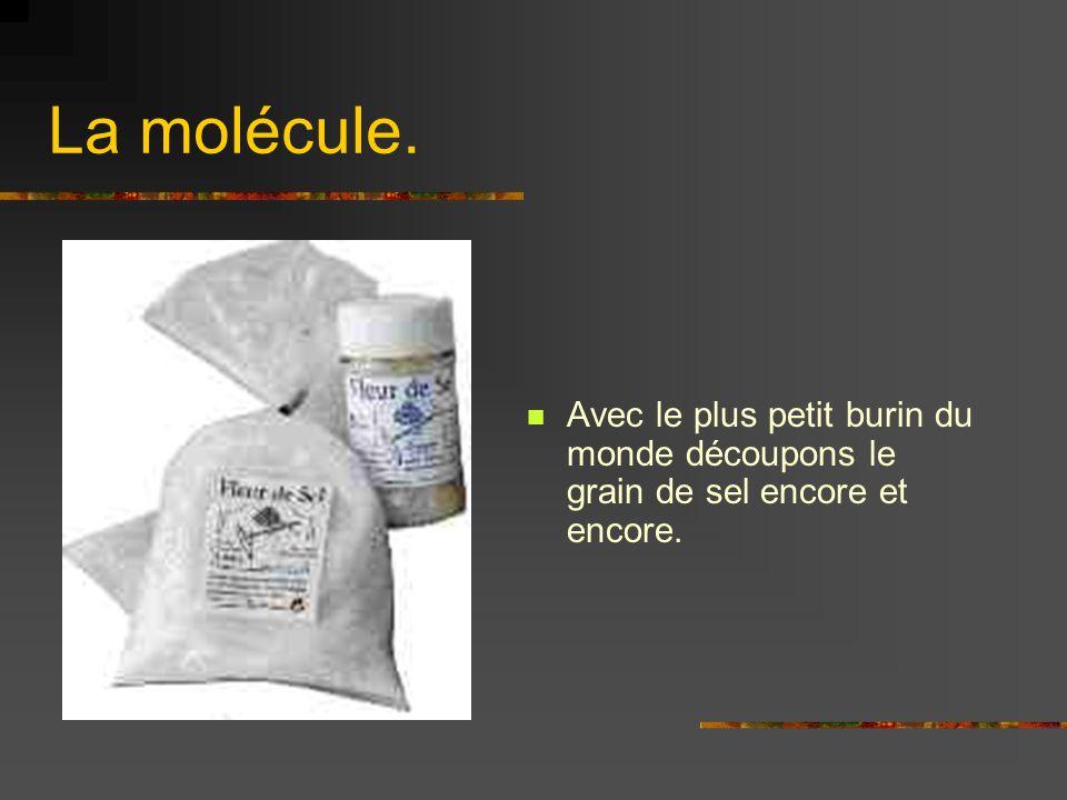 La molécule. Avec le plus petit burin du monde découpons le grain de sel encore et encore.