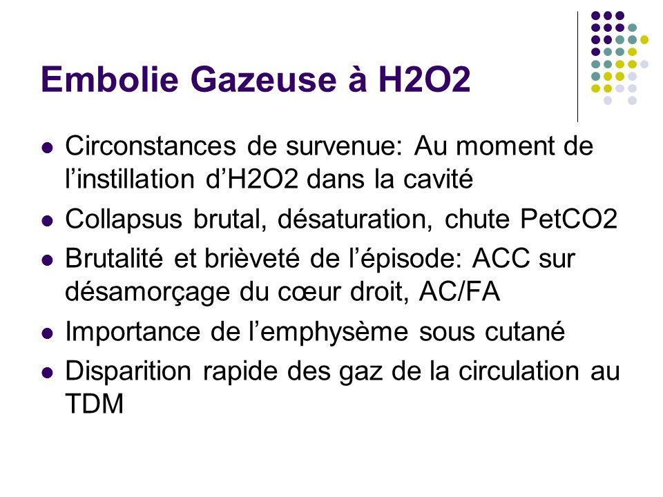 Embolie Gazeuse à H2O2 Circonstances de survenue: Au moment de l'instillation d'H2O2 dans la cavité.