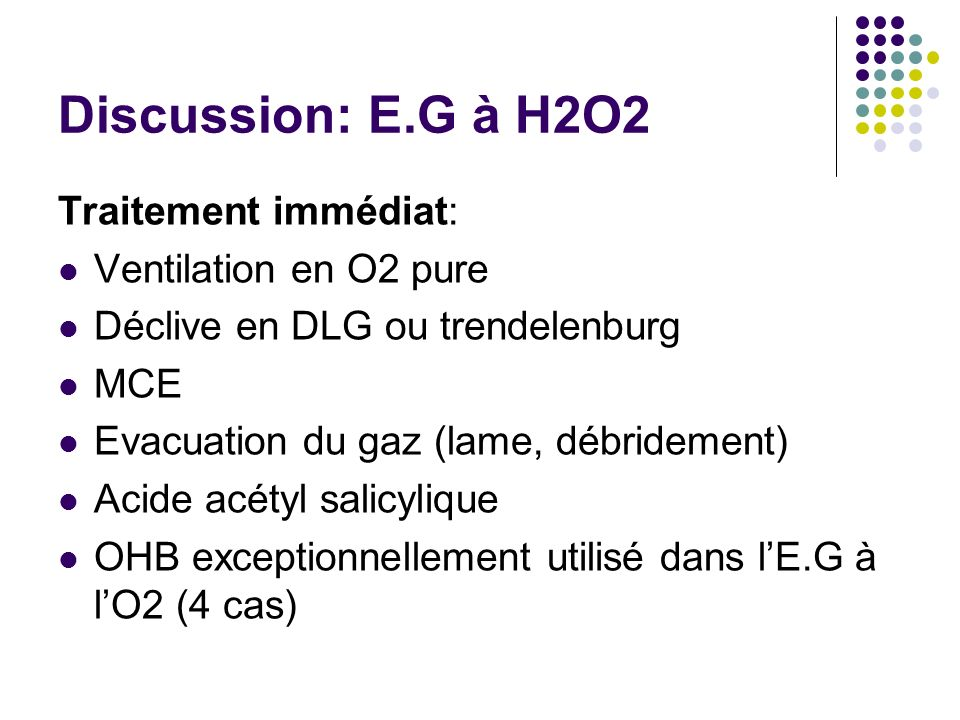 Discussion: E.G à H2O2 Traitement immédiat: Ventilation en O2 pure