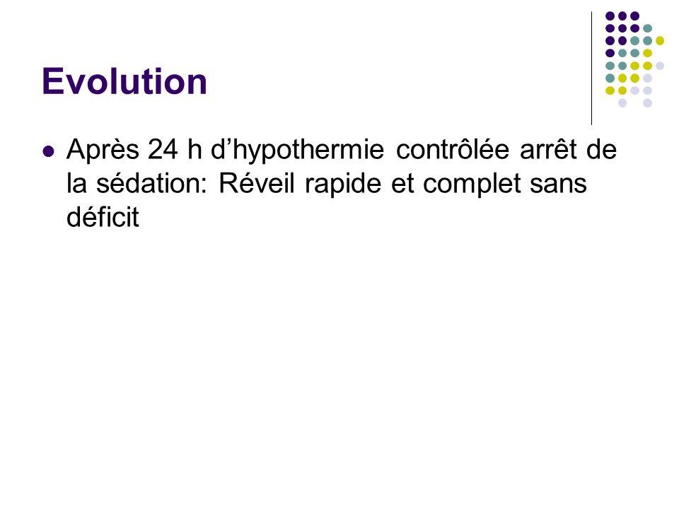 Evolution Après 24 h d'hypothermie contrôlée arrêt de la sédation: Réveil rapide et complet sans déficit.
