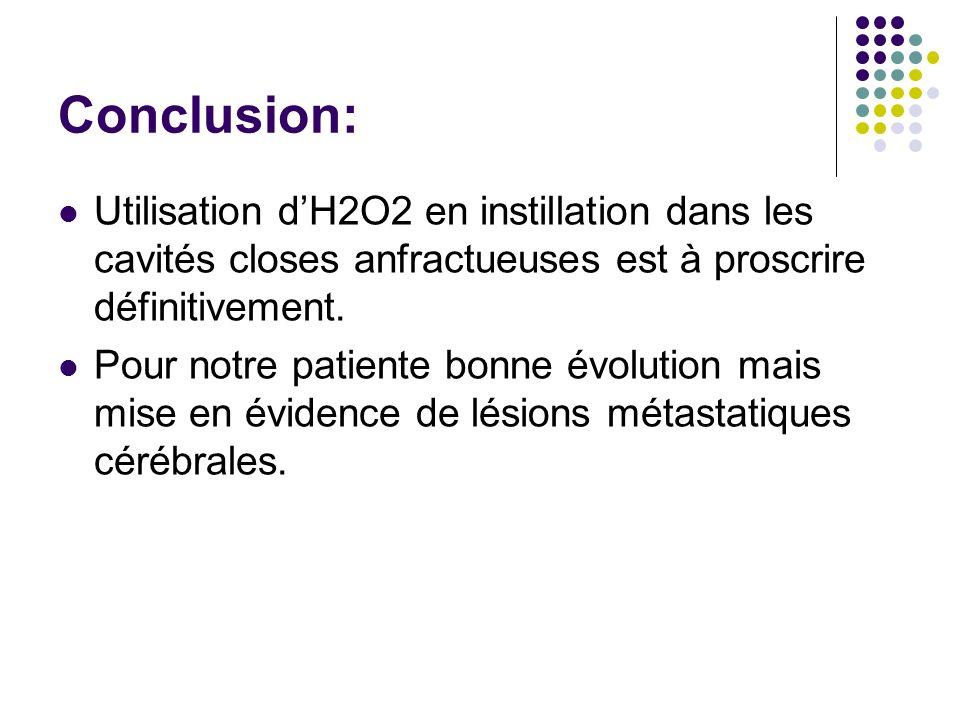 Conclusion: Utilisation d'H2O2 en instillation dans les cavités closes anfractueuses est à proscrire définitivement.