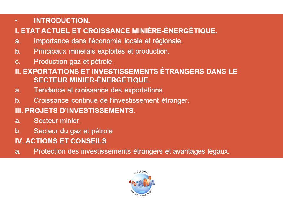 INTRODUCTION. I. ETAT ACTUEL ET CROISSANCE MINIÈRE-ÉNERGÉTIQUE. Importance dans l'économie locale et régionale.