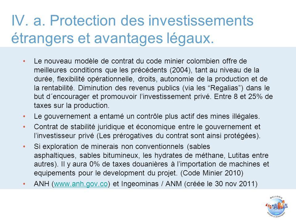 IV. a. Protection des investissements étrangers et avantages légaux.