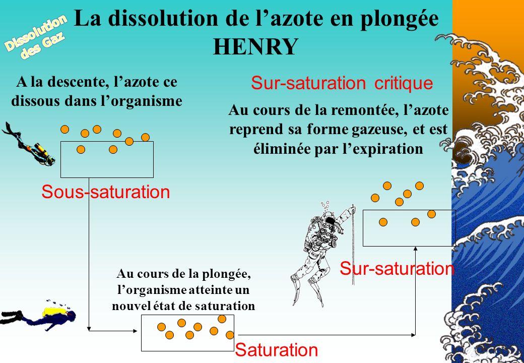 La dissolution de l'azote en plongée HENRY