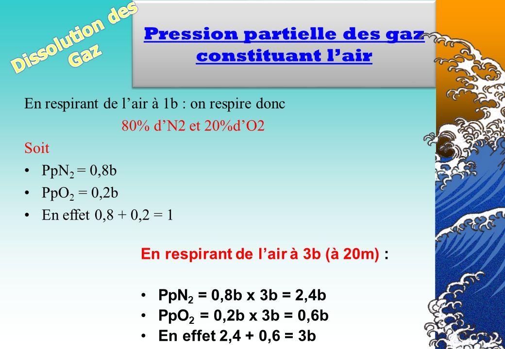 Pression partielle des gaz constituant l'air