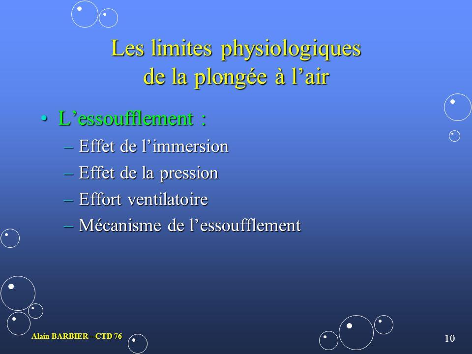 Les limites physiologiques de la plongée à l'air