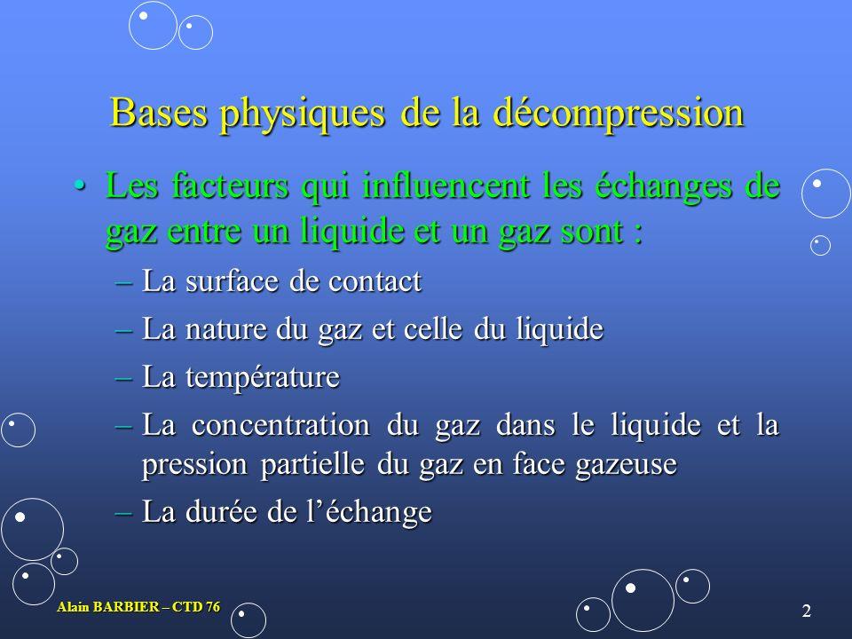 Bases physiques de la décompression