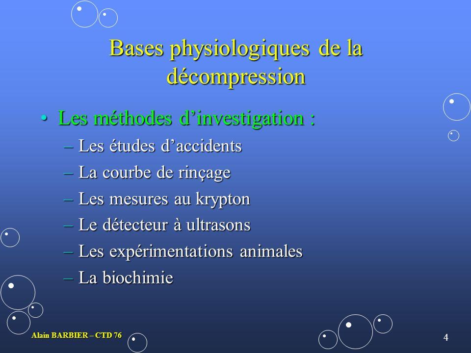 Bases physiologiques de la décompression
