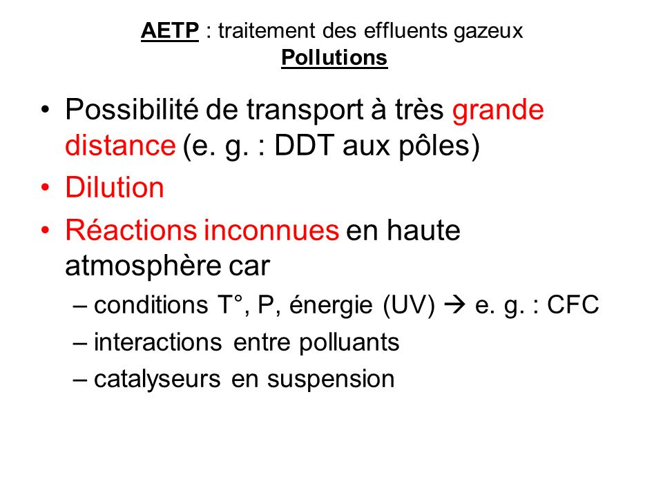 AETP : traitement des effluents gazeux Pollutions