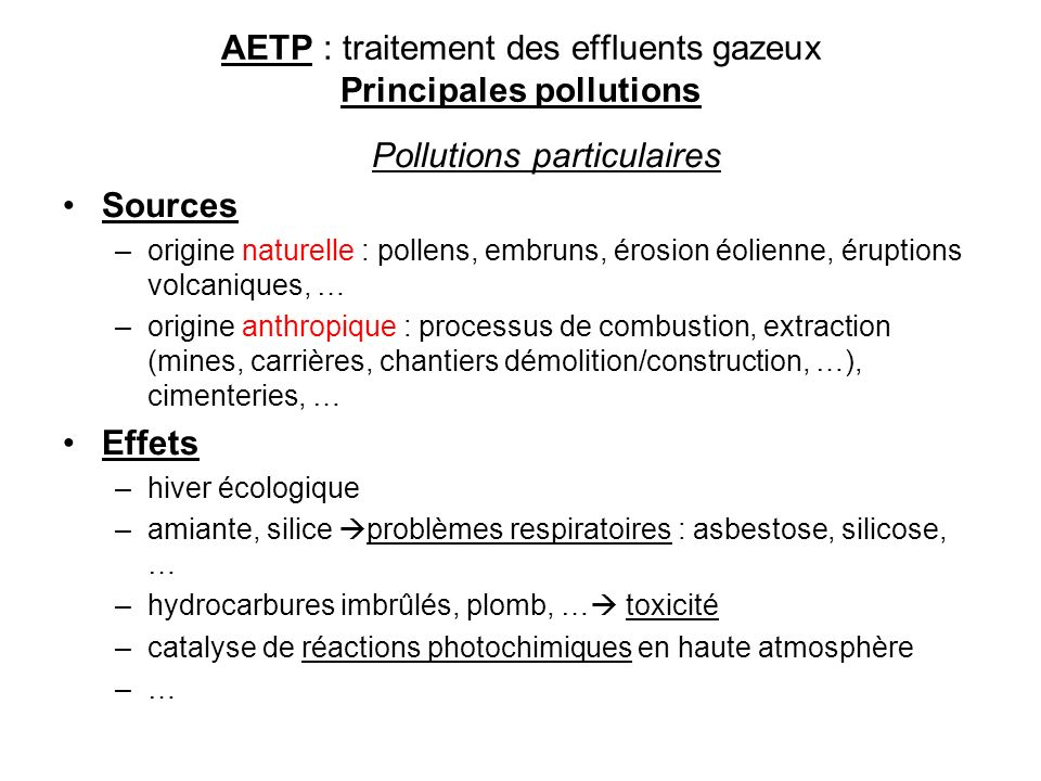 AETP : traitement des effluents gazeux Principales pollutions