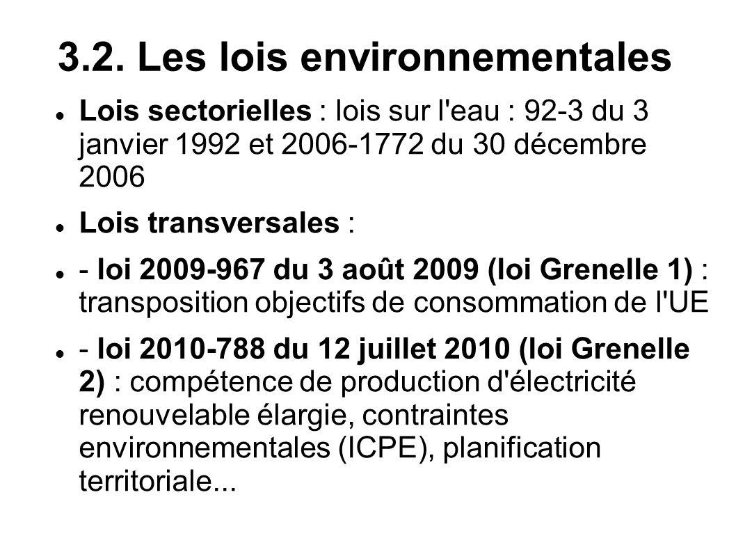 3.2. Les lois environnementales