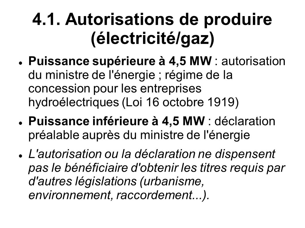 4.1. Autorisations de produire (électricité/gaz)