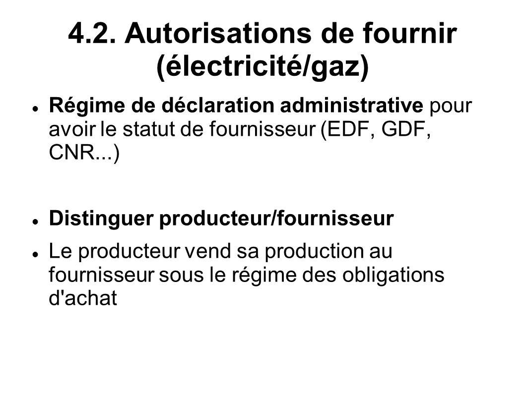 4.2. Autorisations de fournir (électricité/gaz)