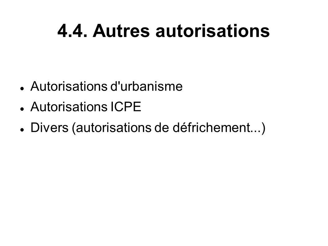 4.4. Autres autorisations Autorisations d urbanisme Autorisations ICPE