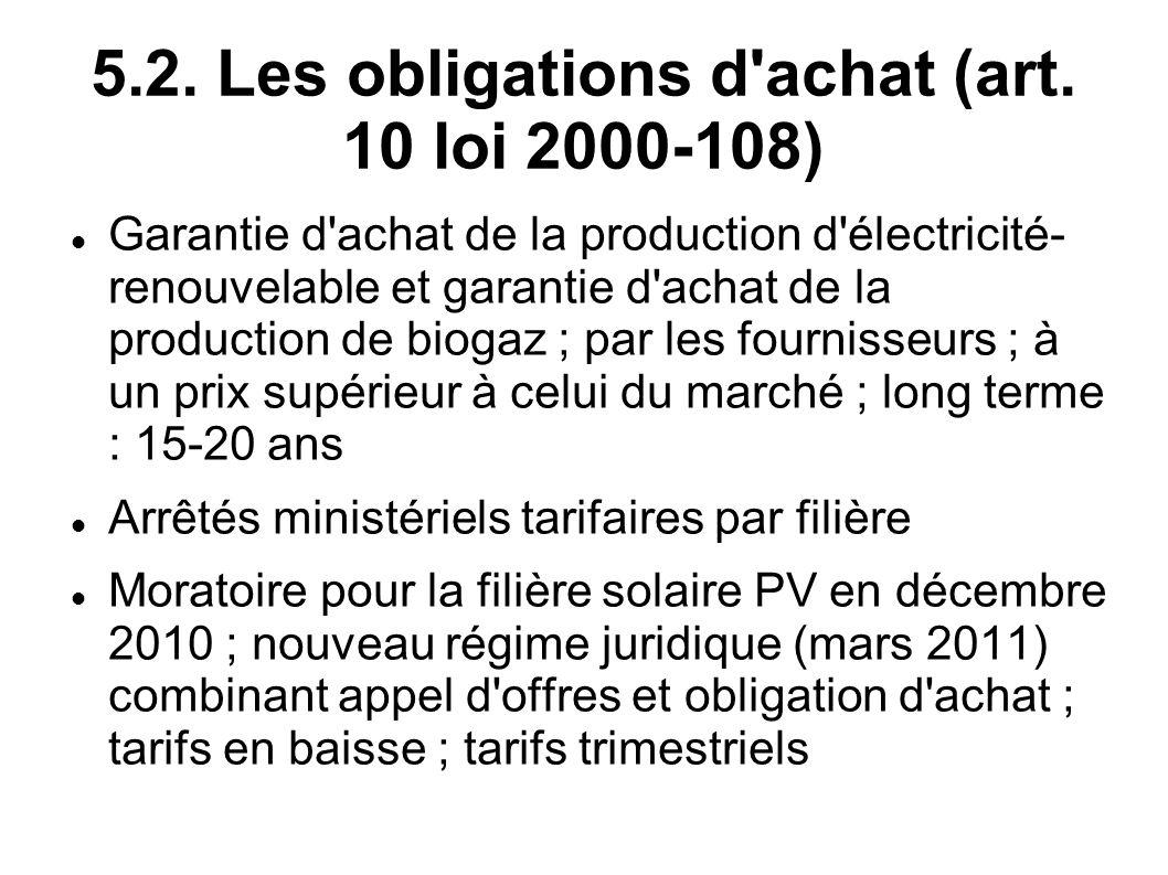 5.2. Les obligations d achat (art. 10 loi 2000-108)