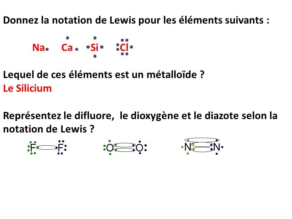 Donnez la notation de Lewis pour les éléments suivants :