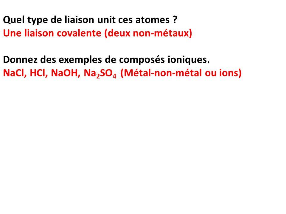 Quel type de liaison unit ces atomes