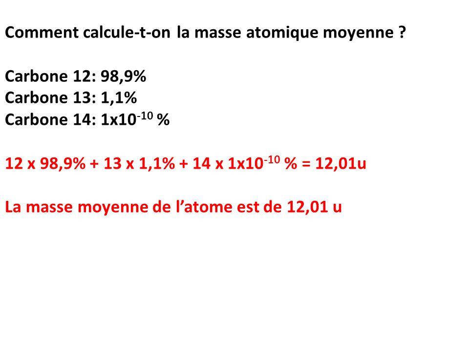 Comment calcule-t-on la masse atomique moyenne