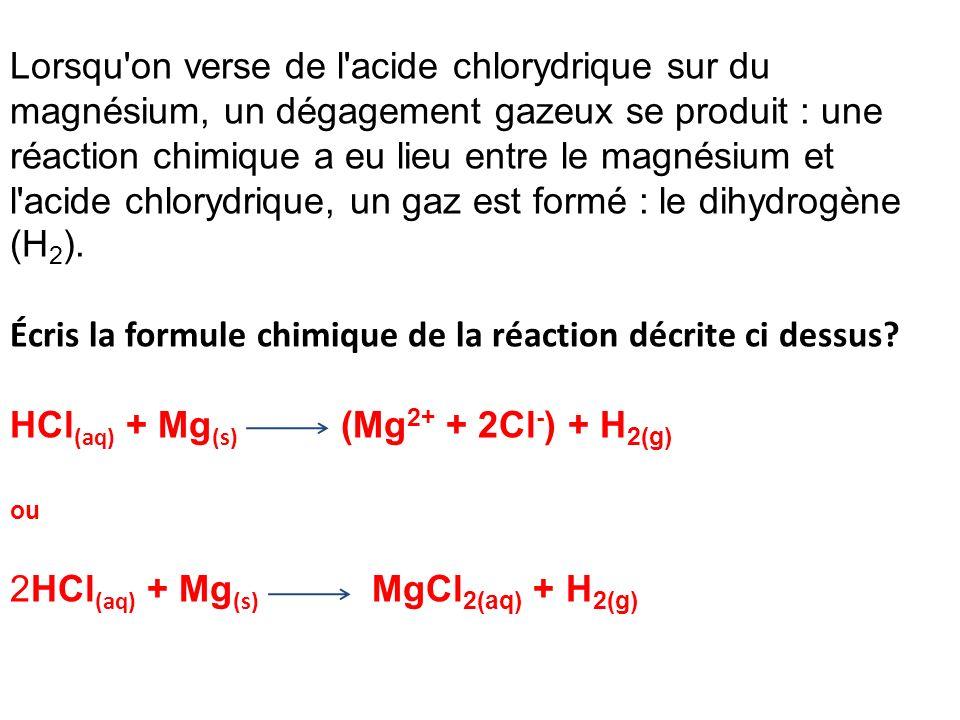 Lorsqu on verse de l acide chlorydrique sur du magnésium, un dégagement gazeux se produit : une réaction chimique a eu lieu entre le magnésium et l acide chlorydrique, un gaz est formé : le dihydrogène (H2).