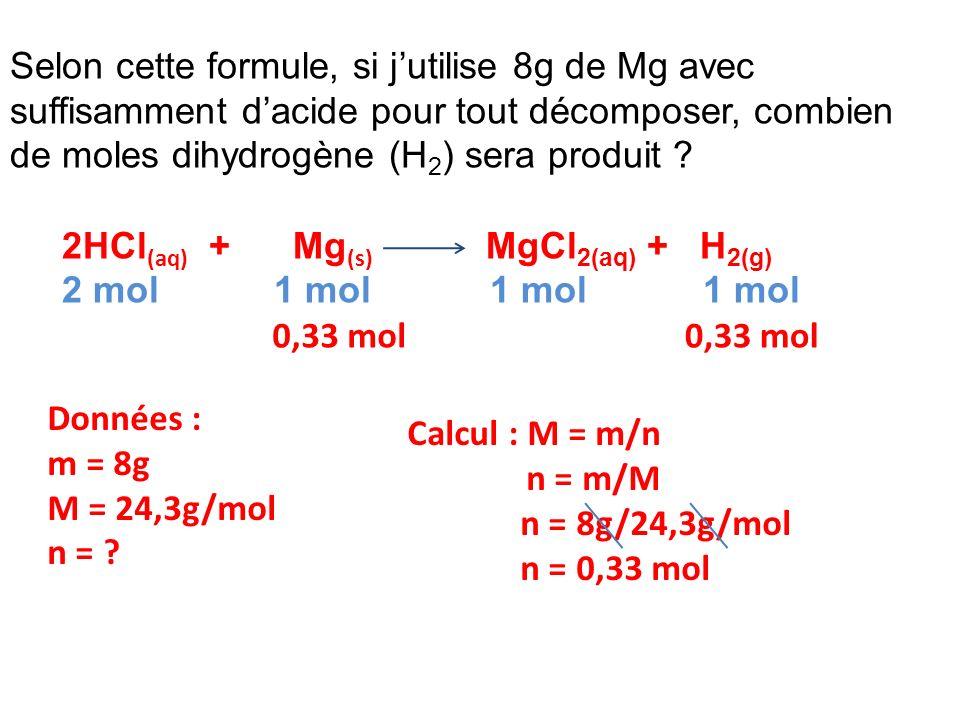 Selon cette formule, si j'utilise 8g de Mg avec suffisamment d'acide pour tout décomposer, combien de moles dihydrogène (H2) sera produit