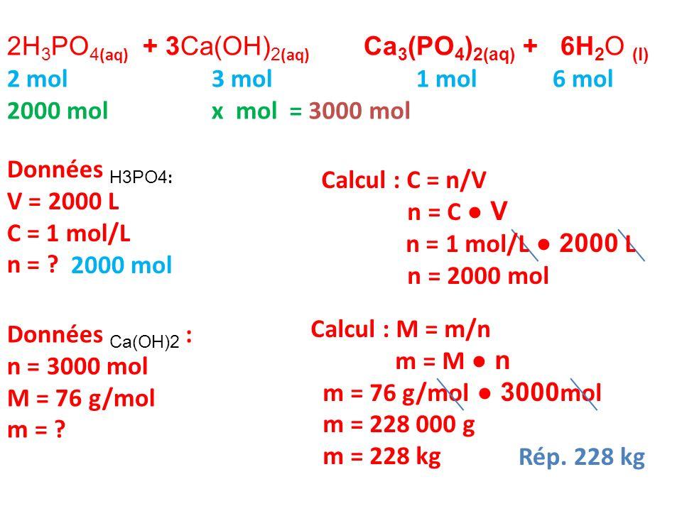2H3PO4(aq) + 3Ca(OH)2(aq) Ca3(PO4)2(aq) + 6H2O (l)
