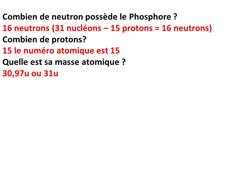 Combien de neutron possède le Phosphore