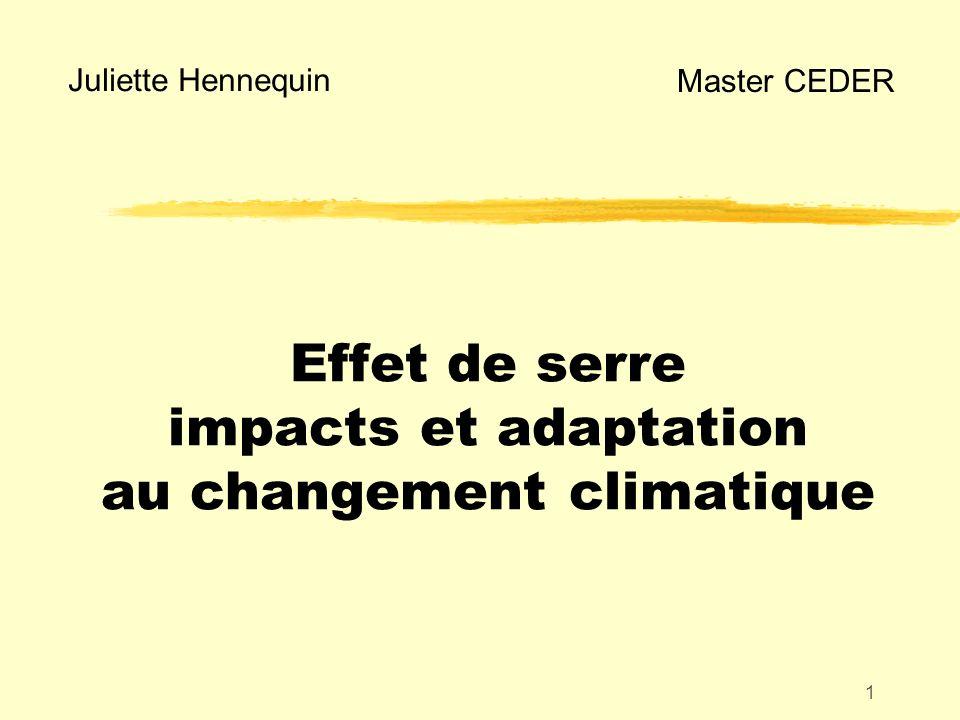 Effet de serre impacts et adaptation au changement climatique