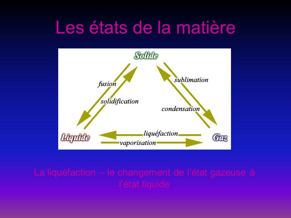 La liquéfaction – le changement de l'état gazeuse à l'état liquide