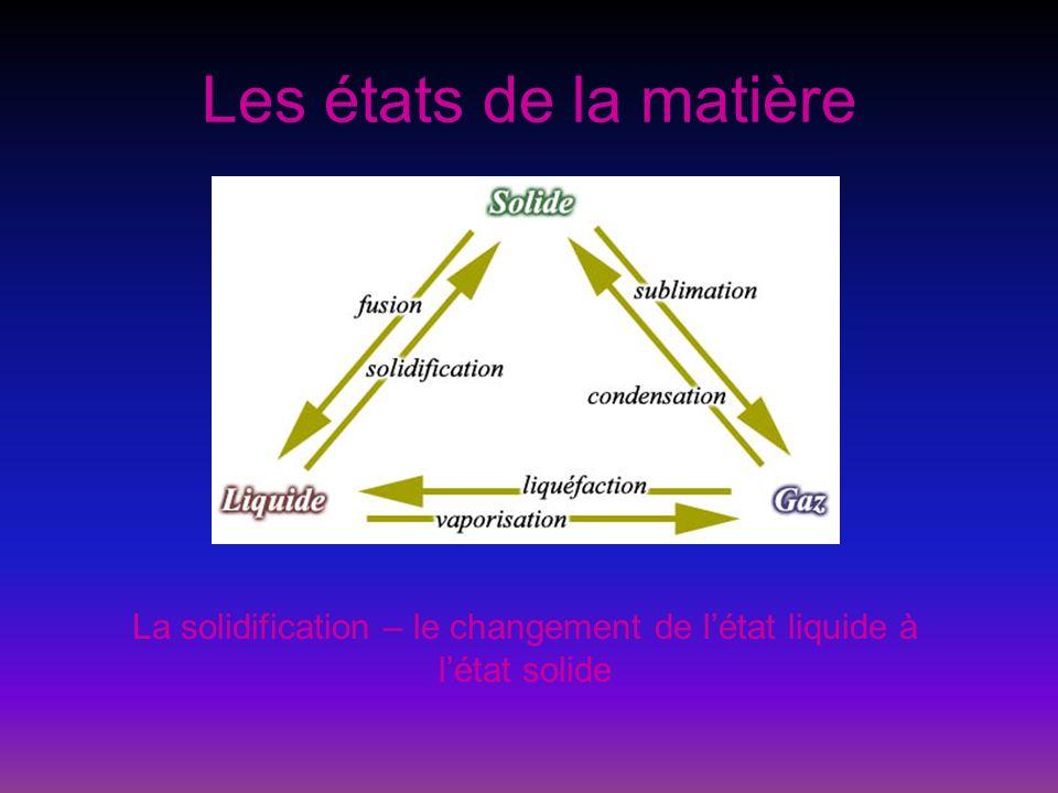 La solidification – le changement de l'état liquide à l'état solide