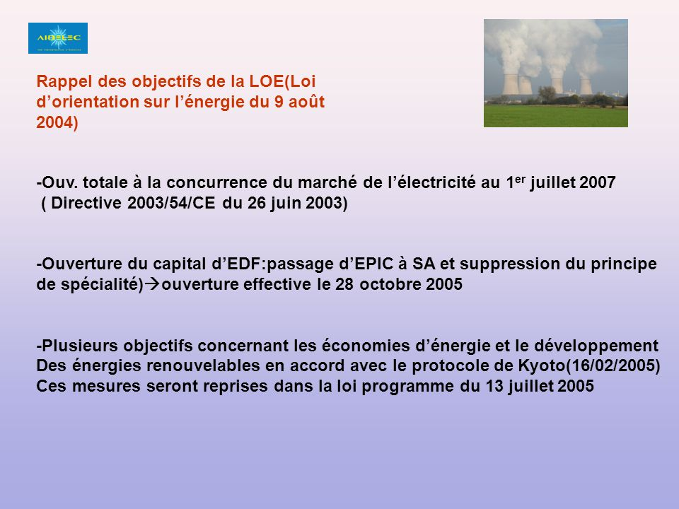 Rappel des objectifs de la LOE(Loi d'orientation sur l'énergie du 9 août