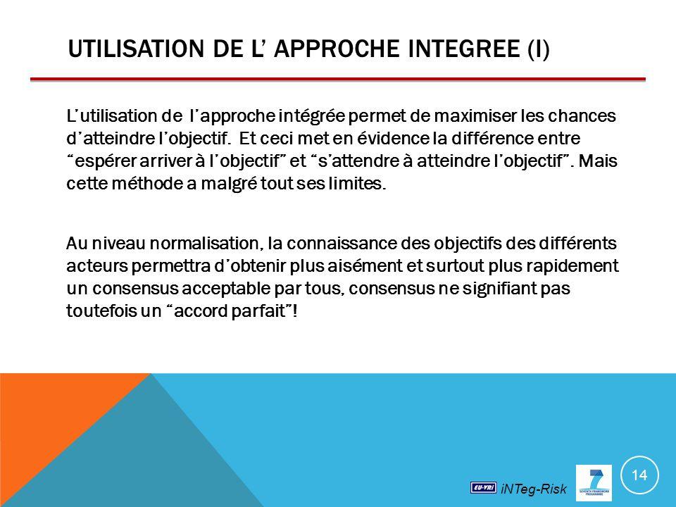 UTILISATION DE L' APPROCHE INTEGREE (I)