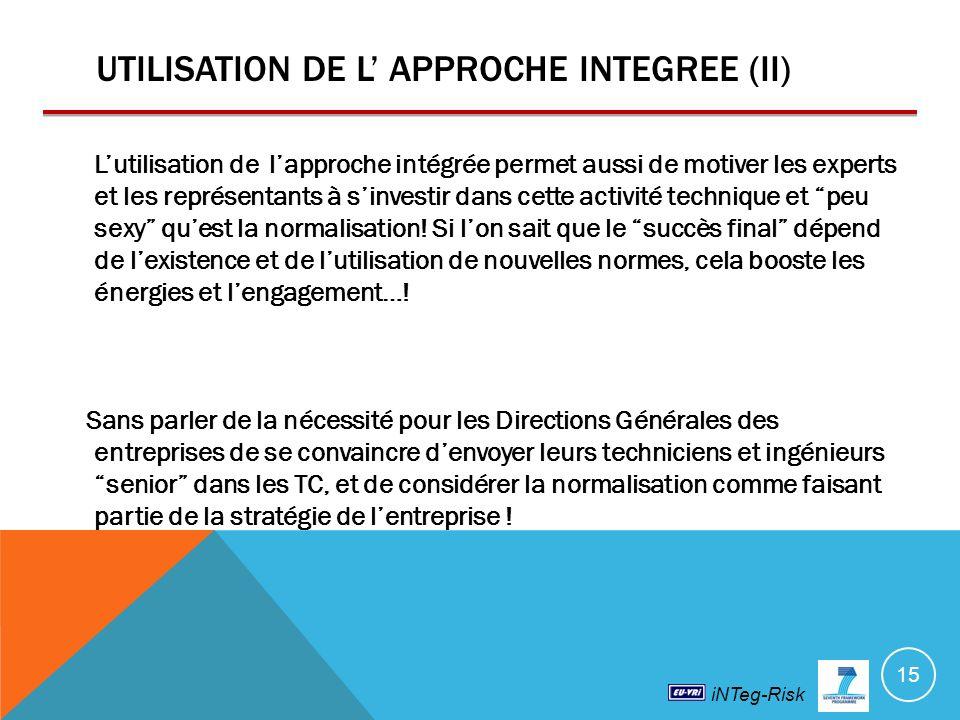 UTILISATION DE L' APPROCHE INTEGREE (II)