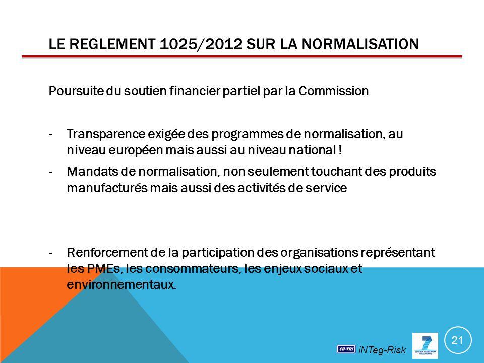 LE REGLEMENT 1025/2012 SUR LA NORMALISATION