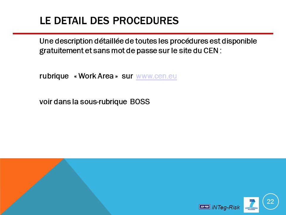 LE DETAIL DES PROCEDURES