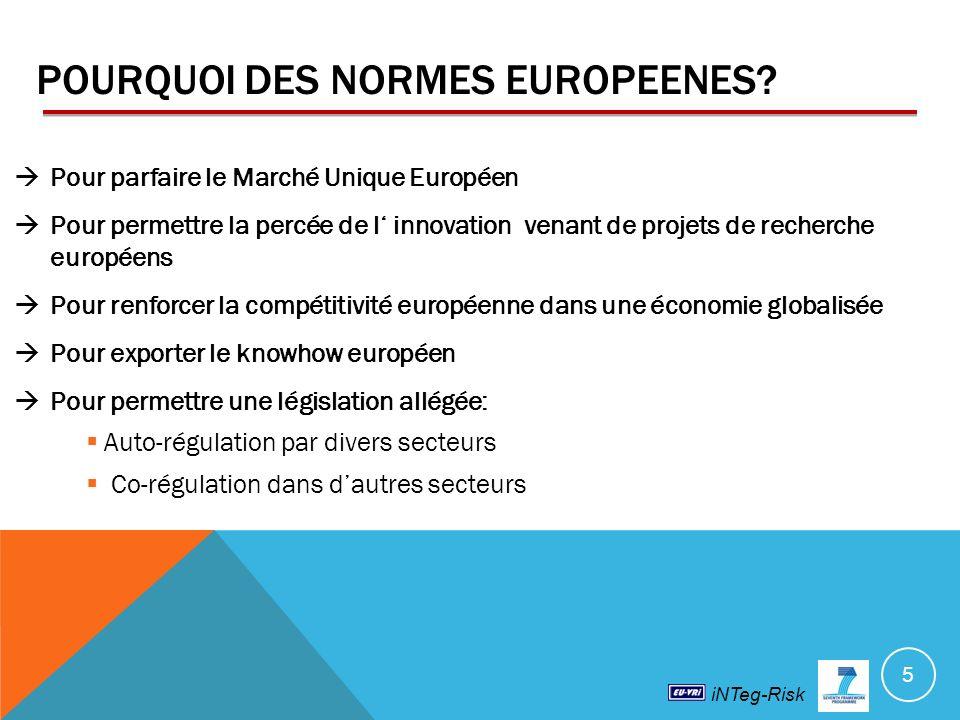 POURQUOI DES NORMES EUROPEENES