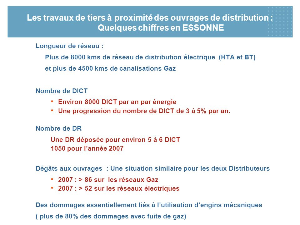 Les travaux de tiers à proximité des ouvrages de distribution : Quelques chiffres en ESSONNE