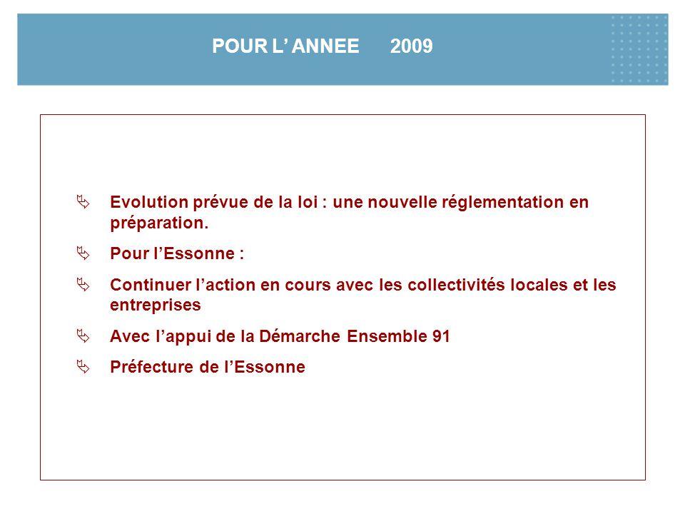 POUR L' ANNEE 2009 Evolution prévue de la loi : une nouvelle réglementation en préparation. Pour l'Essonne :
