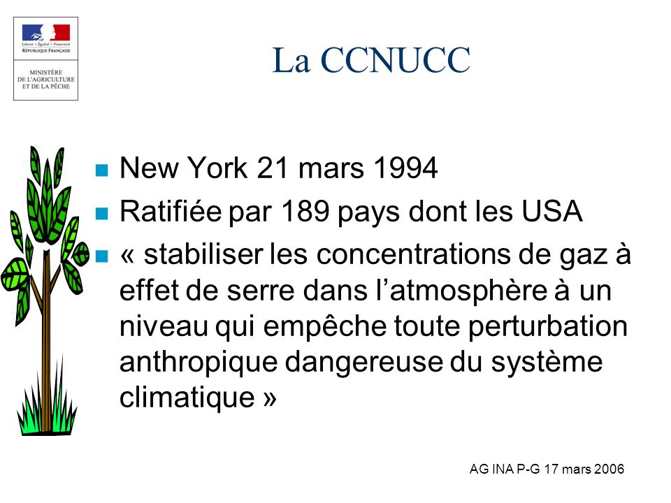 La CCNUCC New York 21 mars 1994 Ratifiée par 189 pays dont les USA