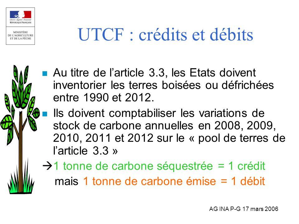 UTCF : crédits et débits