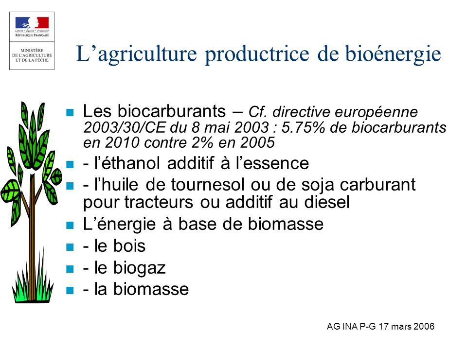 L'agriculture productrice de bioénergie
