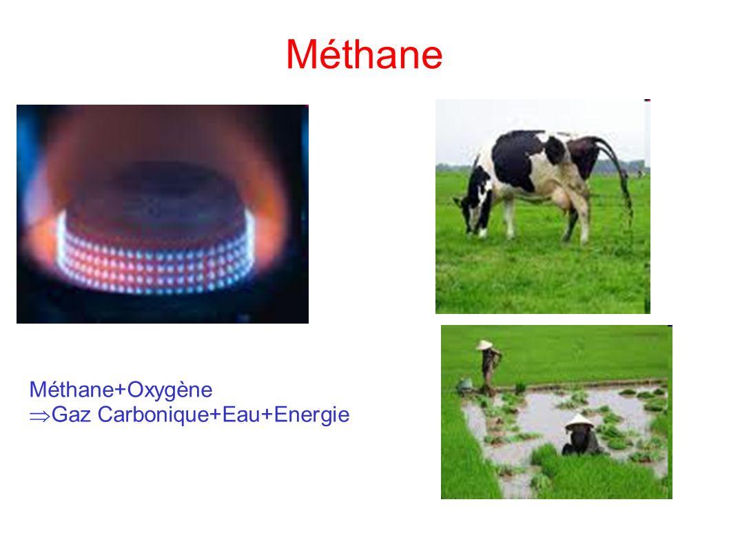 Méthane Méthane+Oxygène Gaz Carbonique+Eau+Energie