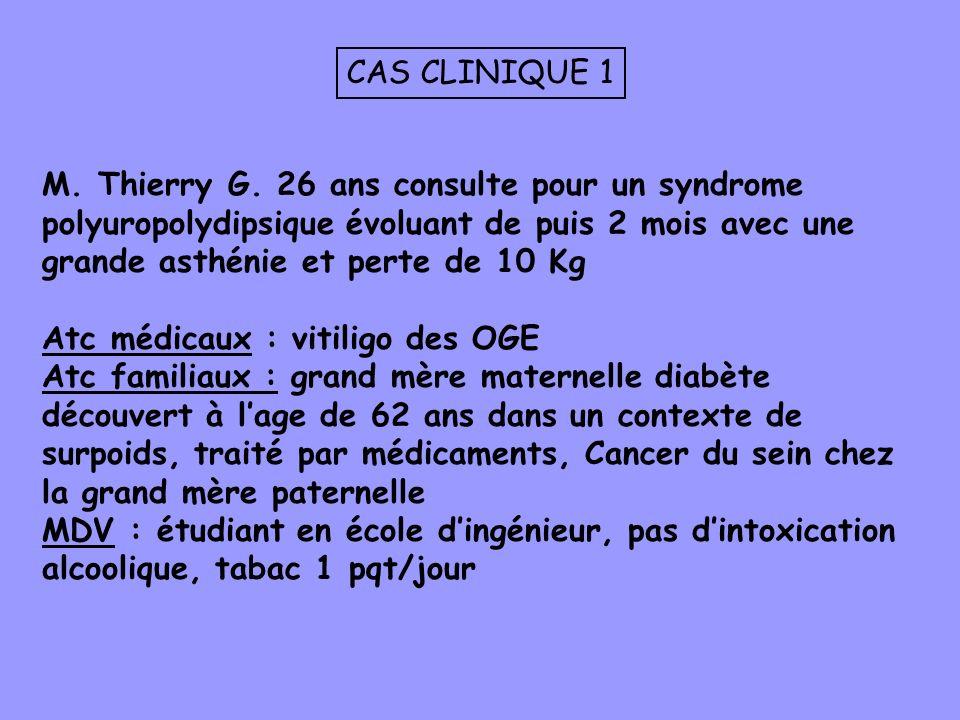 CAS CLINIQUE 1 M. Thierry G. 26 ans consulte pour un syndrome polyuropolydipsique évoluant de puis 2 mois avec une grande asthénie et perte de 10 Kg.