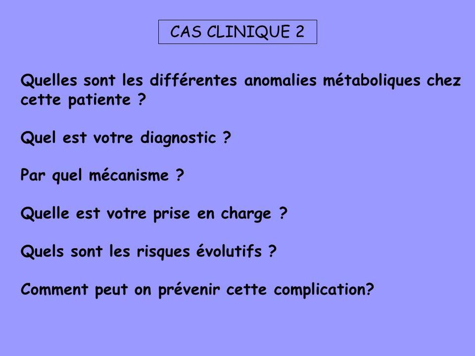 CAS CLINIQUE 2 Quelles sont les différentes anomalies métaboliques chez cette patiente Quel est votre diagnostic